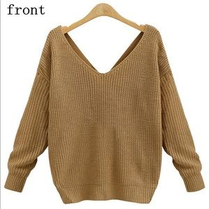 V Neck Women's Sweater with Twisted Back Knot